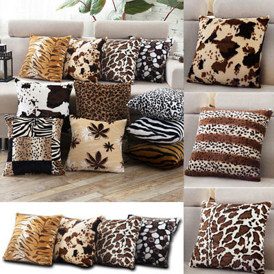 Animal Zebra Leopard Print Pillow Case Sofa Waist Throw Cushion Cover Decor