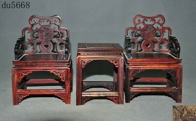 """5""""Chinese huanghuali wood Hand carved animal Dragon statue small table chair set"""