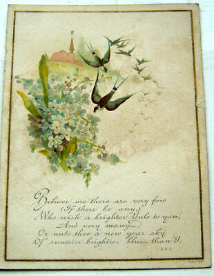 antique victorian new year greetings card swallows