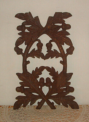 "Antique Cast Iron Oak Leaves + Acorns Architectural Salvage Panel Grate 17"" Old"