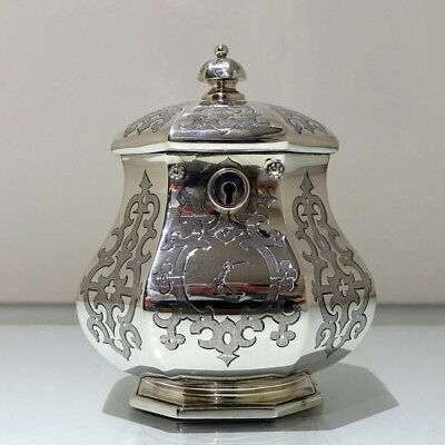 19th Century Antique Victorian Sterling Silver Tea Caddy London 1851