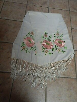 Antique  Chinese Ivory Silk Hand Embroidered  Shawl, Scarf, Peonies