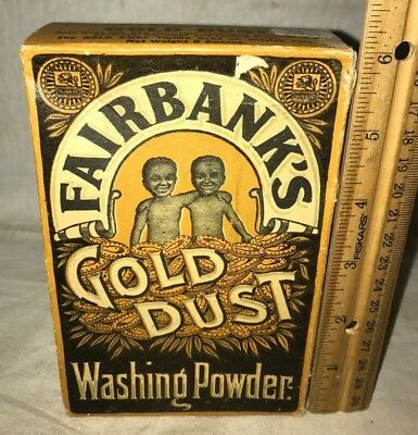 Antique Early Unopened Gold Dust Twins Black Americana Laundry Soap Box Cleaner