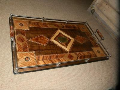 """*Antique wooden Marquetry Inlaid tea tray-Military centerpiece"""" MAG LANDON 1919"""""""