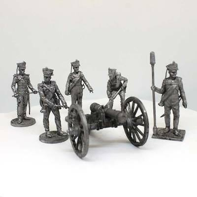 "Tin toy Cannon with crew ""Russian artillery, 1812"" sculpture 54mm #AR81-82"