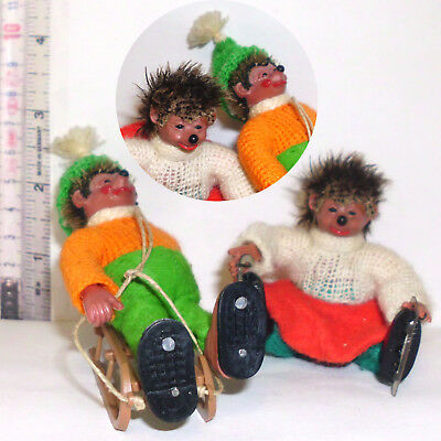2 Mecki Igel Wintersport Paar Figur Peter Biegefigur Hedgehog Winter Time 60s(09