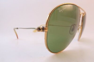 VINTAGE B L RAY Ban aviator sunglasses USA etched BL w decal 58-14 ... f08cd5205c67