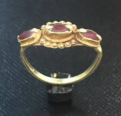 **RARE** 15th Century Ayutthaya Kingdom Gold Ring with 3 Red Ruby Stones