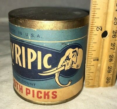 Antique Unopened Ivripic Tooth Pick Tin Vintage Country Store Can Elephant Old
