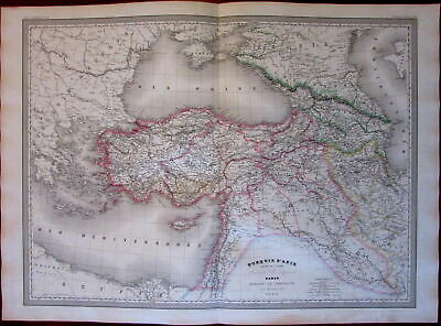 Turkey in Asia Georgia Persia Iraq c.1863 Dyonnet Dufour huge hand color old map