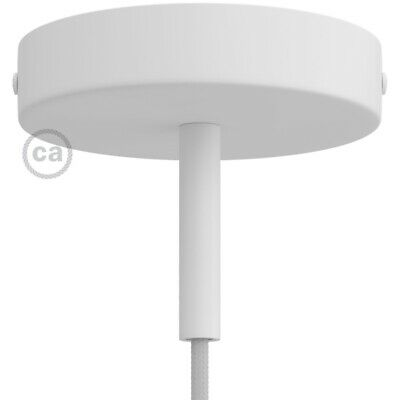 White 120 mm ceiling rose kit with cylindrical 7 cm white metal cable retainer