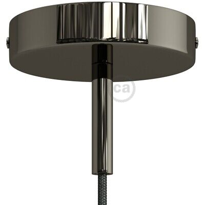 Black pearl 120 mm ceiling rose kit with cylindrical 7 cm Black pearl metal cabl