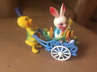 Vintage Easter Bunny Rabbit Hard Plastic Decoration Chick Pushing Wheeled Cart