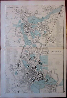 Cambridge Oxford England city plans c.1880s antique map original hand color