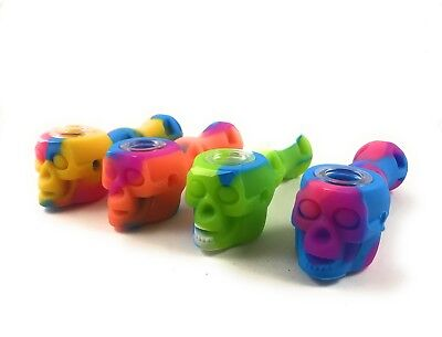 "4"" Skull SILICONE TOBACCO PIPE (GLASS SLIDE BOWL +STASH CONTAINER)"