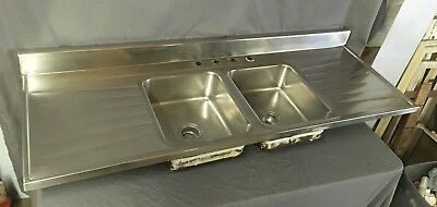 "Vtg Mid Century 72"" Stainless Steel Double Basin Kitchen Sink 620-18E"