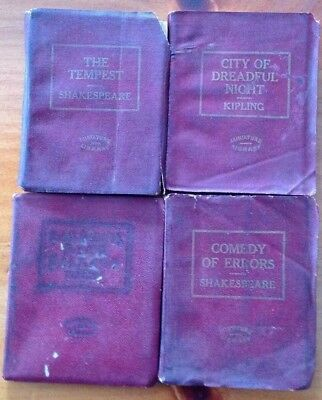Antique LITTLE LEATHER LIBRARY Miniature Lot of 4 Books SHAKESPEARE and KIPLING