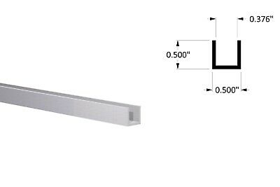 """Aluminum Channel:(1/2"""" W x 1/2"""" H x 1/16"""" Wall) Fits 3/8"""" Clear Anodized 6 Foot"""