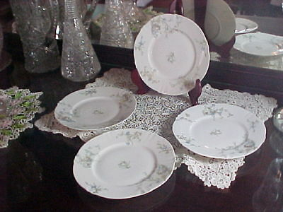 """Four Theo Haviland Limoge France 8"""" Lunch Plates Schleiger #603 Blank #116"""