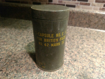 Vintage Tin Military Mark IV Can British Empty Container Tank Capsule Antique