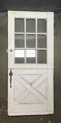 Vtg Solid Wood Dutch Door 9 Lite 80x36 Shabby Cottage Exterior Entry 621-18E