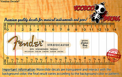 Fender Stratocaster 50s VINTAGE LOOK (Orange logo) Waterslide decal