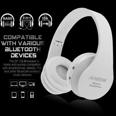 Foldable Wireless Bluetooth Stereo Headset Handsfree Headphones Bass Earphone