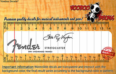 Fender Stratocaster Stevie Ray Vaughan SRV (Grey logo) Waterslide decal