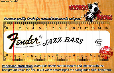 Fender Jazz Bass 1974 Waterslide decal