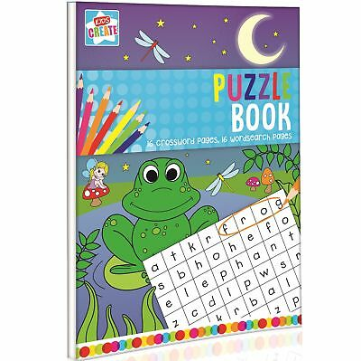A4 Childrens Kids 32 Page Puzzle Book Word Search Crossword Travel Activity Fun