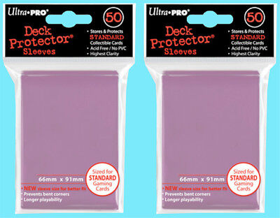 100 Ultra Pro PINK DECK PROTECTOR NEW 2 packs Standard Size Card Sleeves MTG ccg
