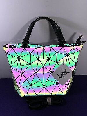9a57bf8b52 Women Purse Handbag Geometric Laser Luminous Holographic Shoulder Bucket Bag