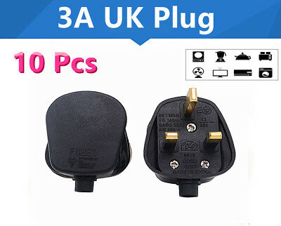 10 X STANDARD UK Fused 13A Black Mains 3 Pin Household Power