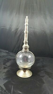 "Moroccan Metal and Glass ""I Dream of Genie"" style Bottle"