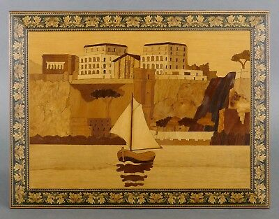 Vintage 1960s ITALIAN MARQUETRY Inlaid Wood Sorrento Italy Wall Plaque Sea Boat