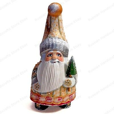 """6.7"""" Santa Claus Gnome Dwarf Christmas Russian Hand Carved Wooden Figure"""