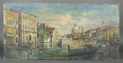 Antique 19th c HENRIETTA THORNTON American Venice Canal Italy Oil Painting