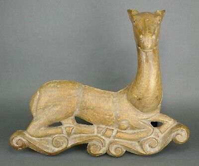 Fine Antique French Carved Wood Architectural Wall Sculpture of a Recumbent Deer