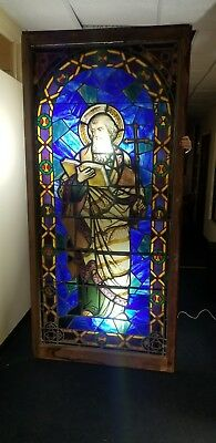 HUGE Magnificent Stained Glass Window Depicting St. Peter Antique Vintage