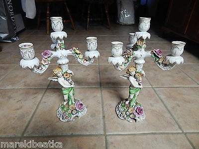 Antique Von Schierholz Germany Porcelain 4 Light Candelabras Pair, Angels