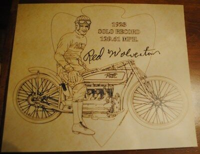 Ace Indian Motorcycle 1923 Speed Record Red Wolverton Man Cave Art