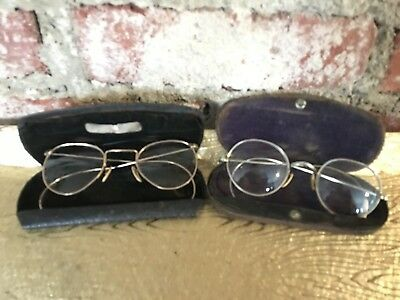 Antique Vintage COC Eyeglasses with Cases Silver & Gold Filled  Frames