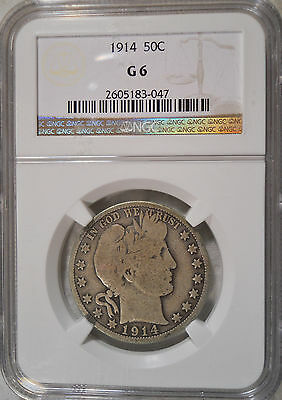 1914 Certified by NGC G6 Barber Half Dollar G 6 Good Old Silver Coin P 043