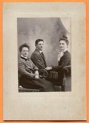 Portrait of a Young Man & 2 Young Women, circa 1890s Old Cabinet Card