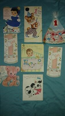 Vintage LOT Eight Asst 1958 era 1st Birthday Cards All signed, Flocked finish