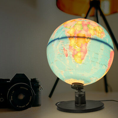 25cm LED World Globe Night Light Illuminated Lamp Desk Decor Kids Students Gift
