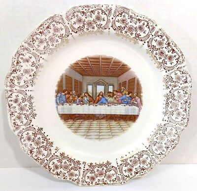 Jesus At The Last Supper Collectible Plate 24 Kt Gold Trim Christian Home Decor