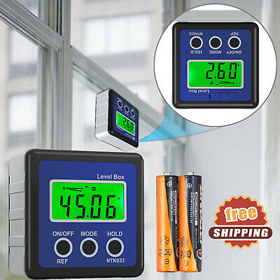 0-360° Digital LCD Protractor Level Box Inclinometer Gauge Angle Finder Magnetic