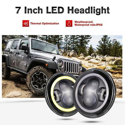 "2x 7"" Inch Round 150W Total LED Halo Hi/Lo Headlights For Harley Jeep Wrangler"