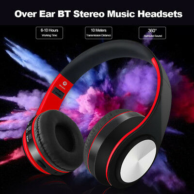 Foldable Wireless Bluetooth Headset Stereo Headphone Mic For Samsung iPhone 7 X
